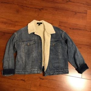 Forever 21 Jean Jacket with white fur lining